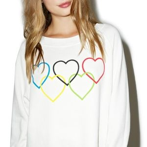 "WILDFOX Cropped Boxy Olympic ""Love"" Sweatshirt"